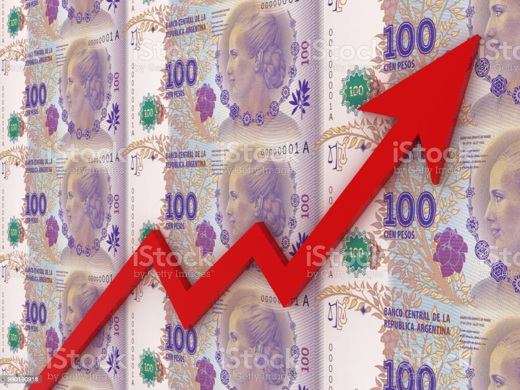 Argentina peso money growth chart graph stock photo