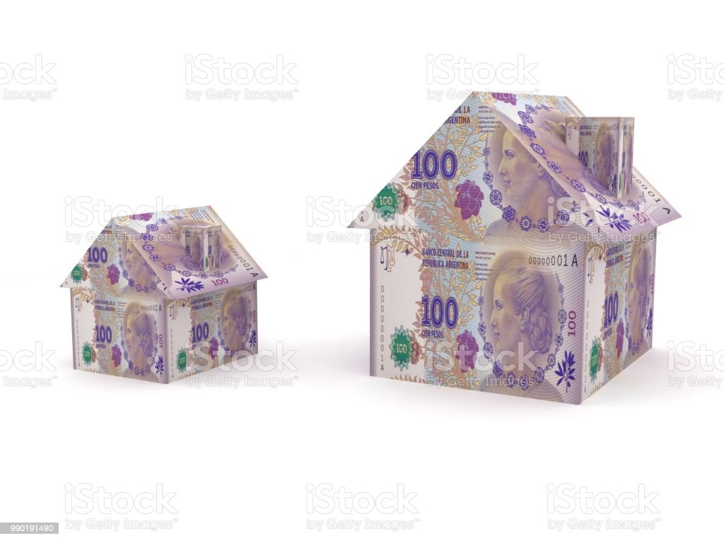 Argentina peso money house real estate stock photo