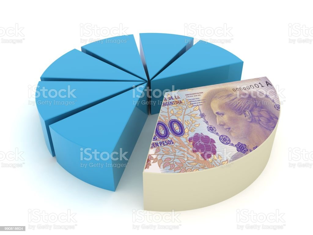 Argentina peso money pie chart tax finance crisis stock photo