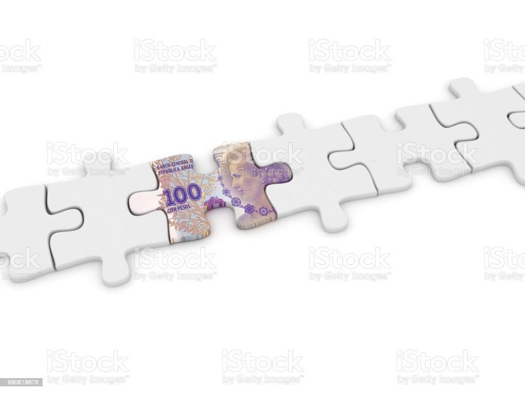 Argentina peso money puzzle finance crisis stock photo
