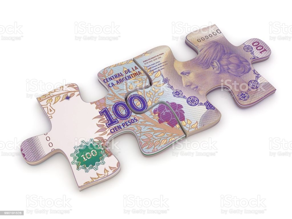 Argentina peso money puzzle stock photo