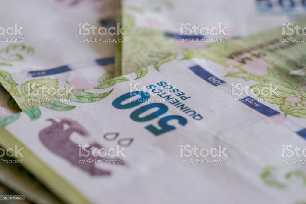 500 Argentina pesos bills Detail background stock photo