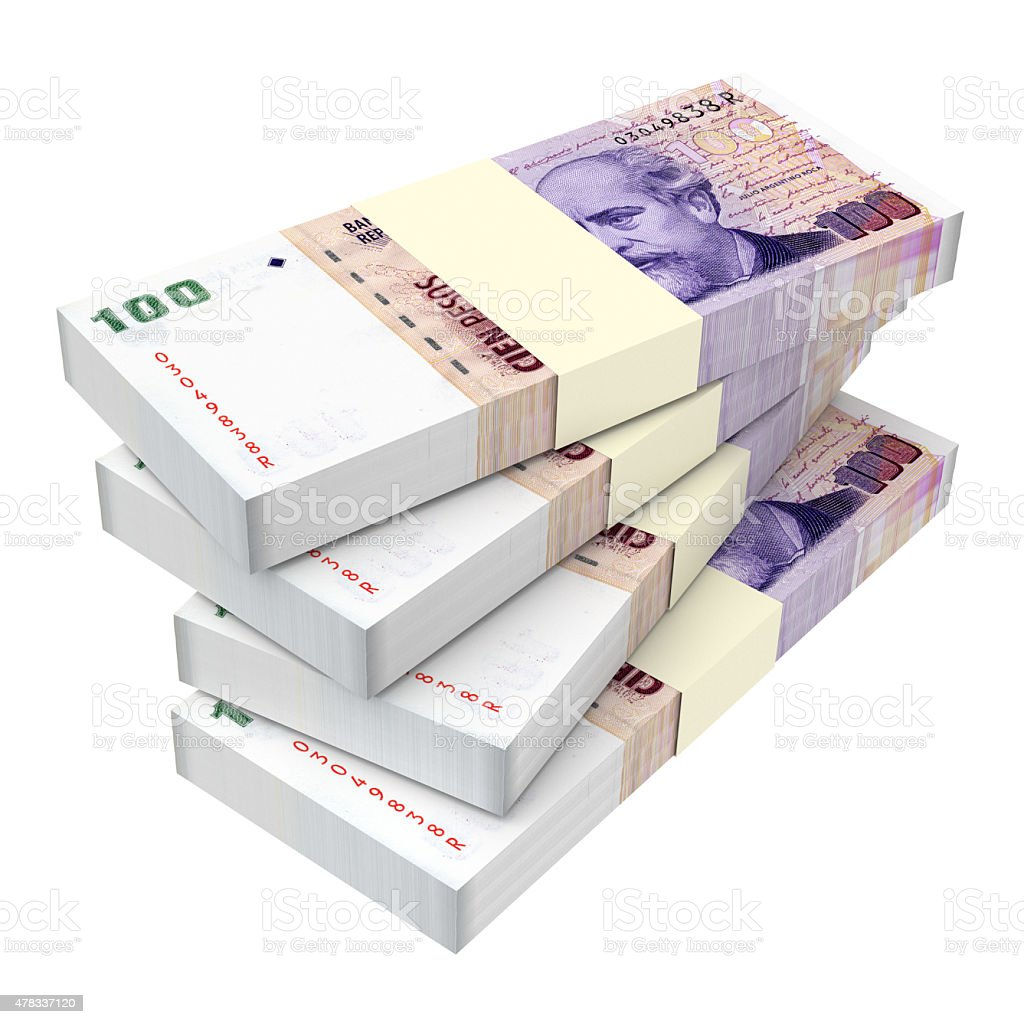Argentina pesos isolated on white background. stock photo
