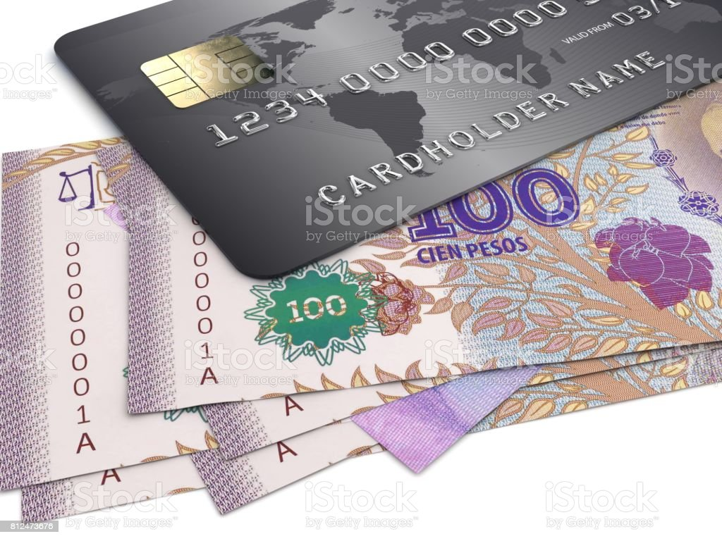 Argentina pesso money credit card stock photo