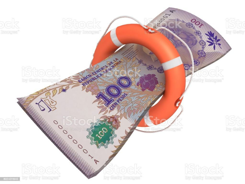 Argentina pesso money economics help lifebelt stock photo