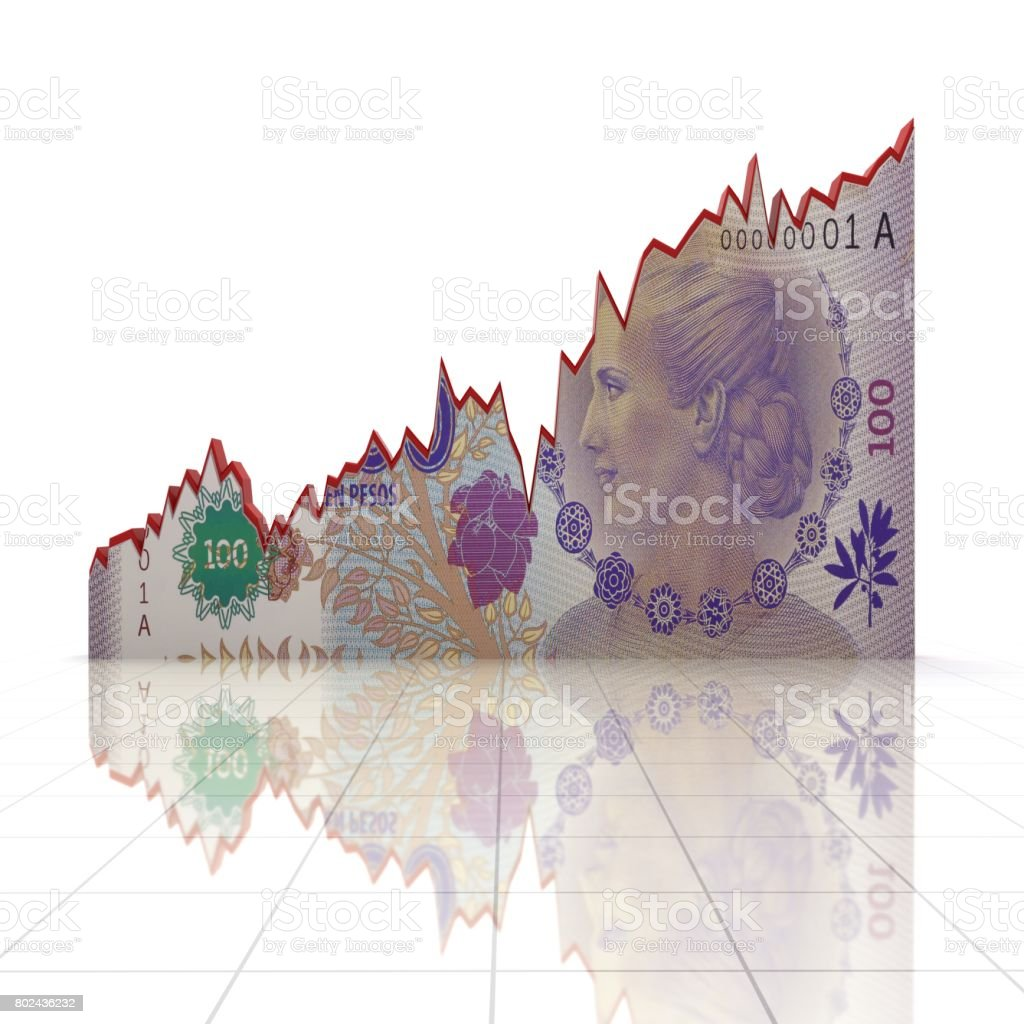 Argentina pesso money growth chart concept stock photo