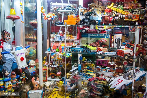 A toy store at the San Telmo Market (Mercado de San Telmo), the historic building in Buenos Aires.