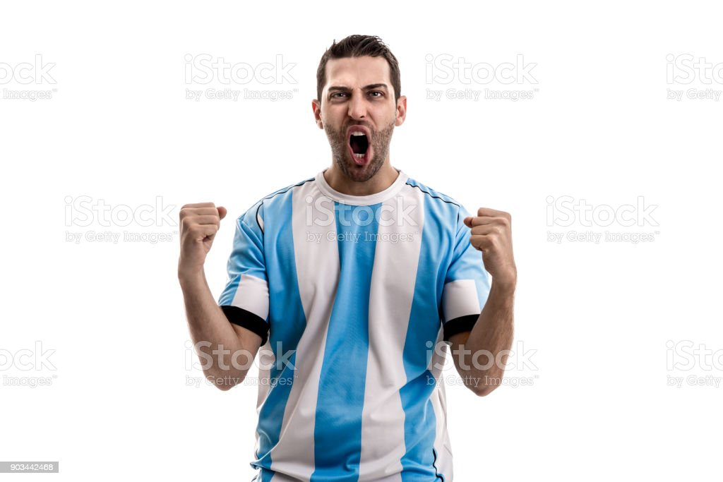 Argentina Soccer fan celebrating stock photo