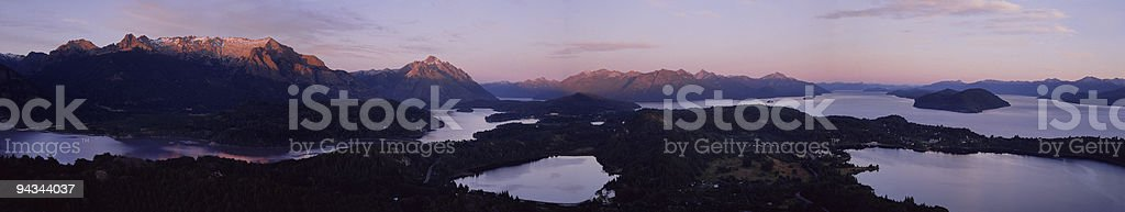 Argentina sunrise over lakes and mountains royalty-free stock photo