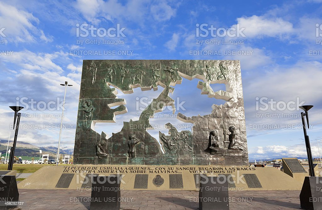 Argentina Ushuaia memorial of Falkland War stock photo