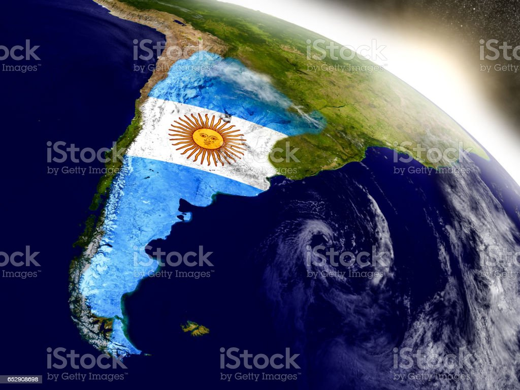 Argentina with flag in rising sun stock photo