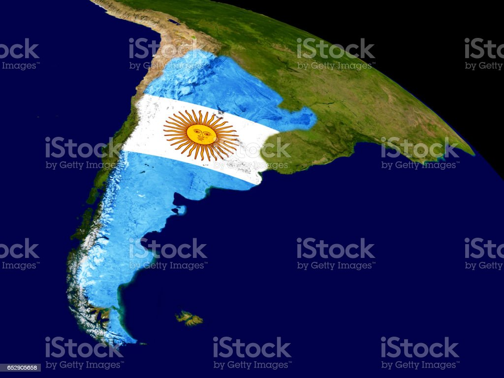 Argentina with flag on Earth stock photo