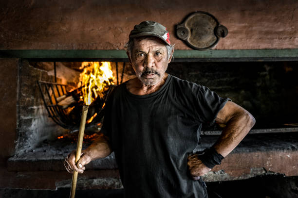 Argentine barbecue man stock photo