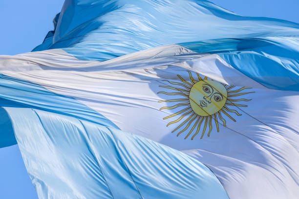 Argentine flag in the wind stock photo
