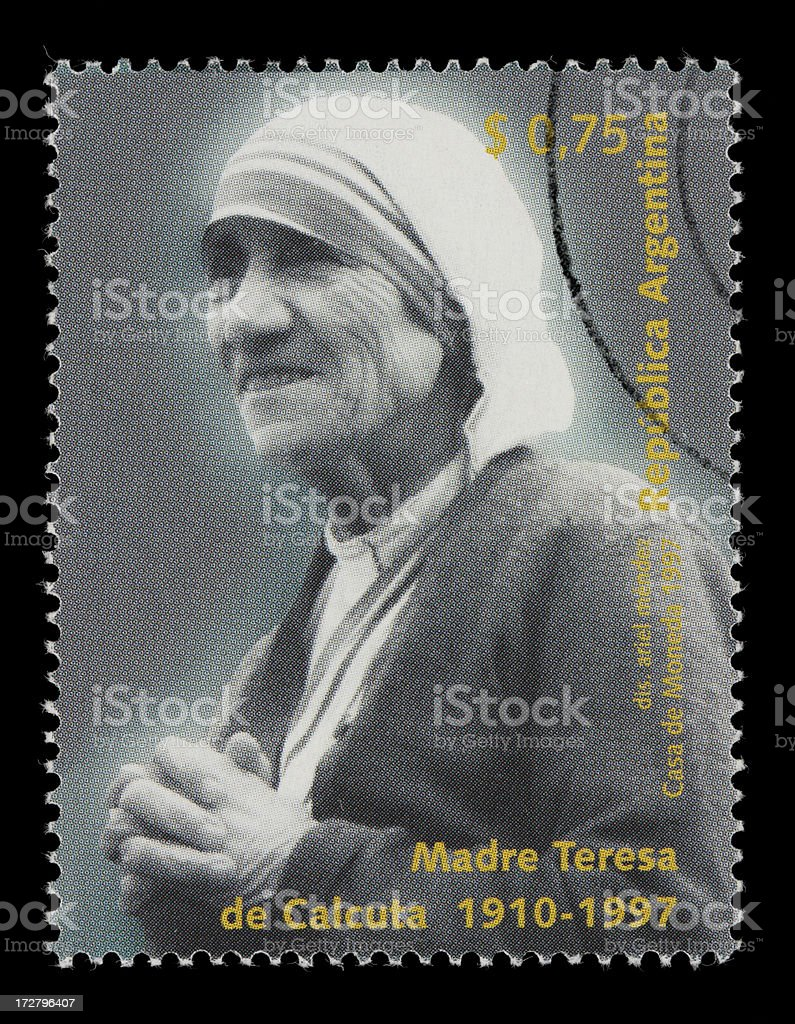 Argentine Mother Teresa stamp royalty-free stock photo