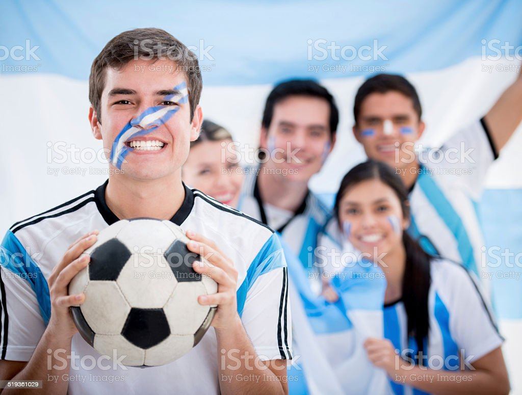 Argentinean football fans stock photo