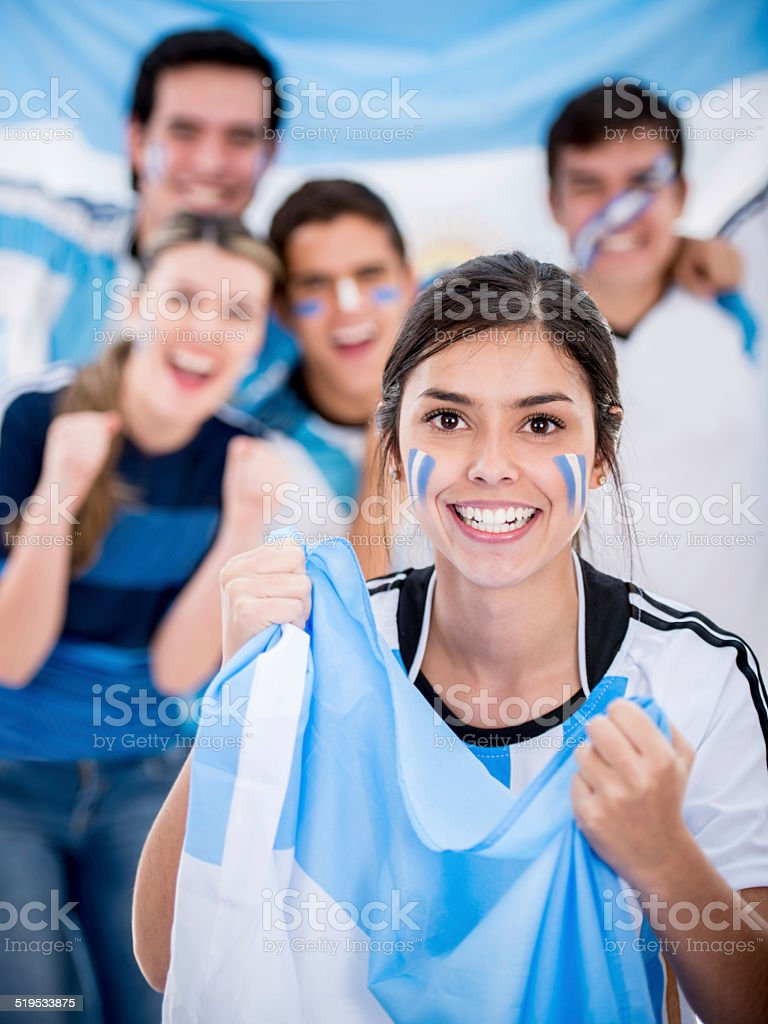 Argentinean soccer fans stock photo