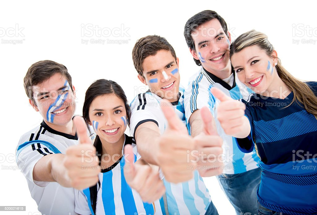 Argentinean soccer fans with thumbs up stock photo