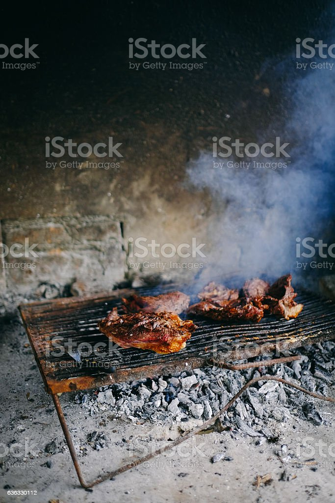 Argentinian Asado on the grill stock photo