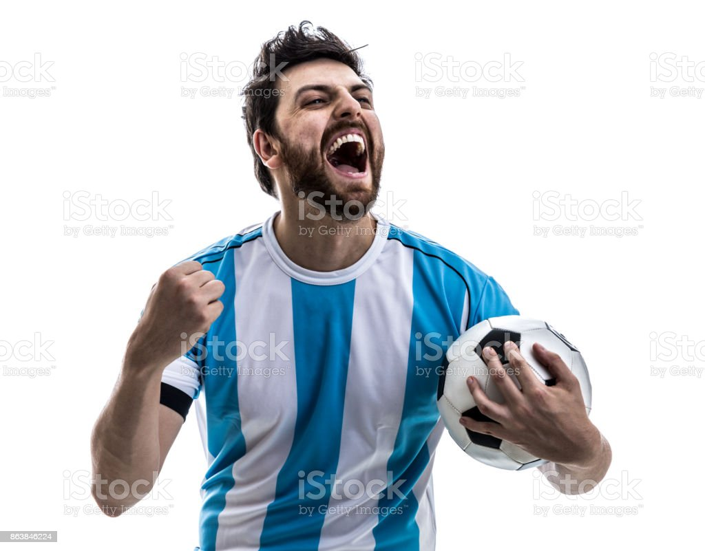 Argentinian athlete / fan celebrating on white background stock photo