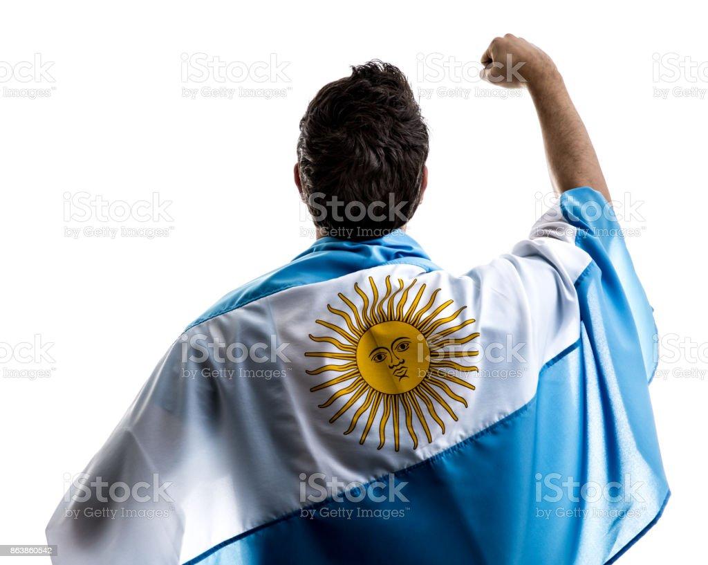 Argentinian athlete / fan celebrating on white background stock photo