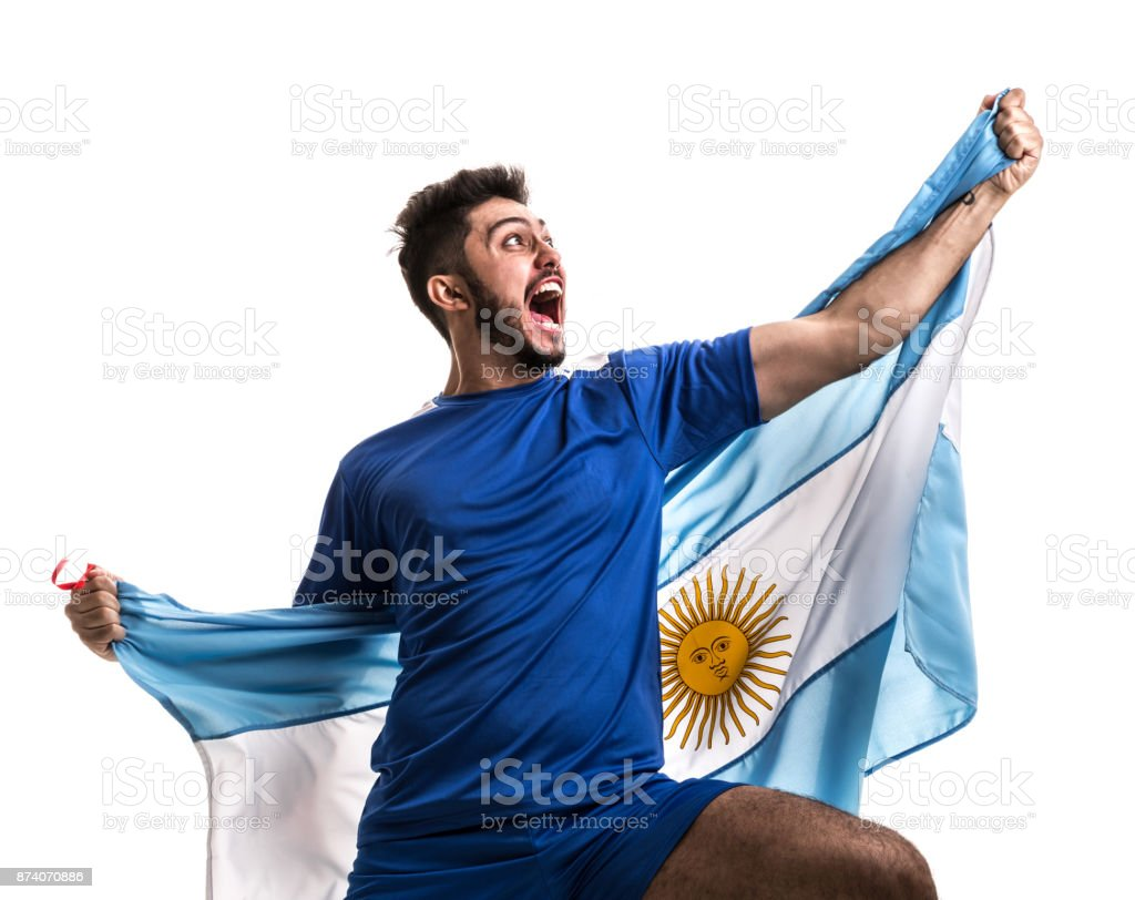 Atleta Argentina / ventilador comemorando em fundo branco - foto de acervo