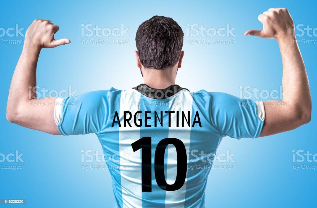 Argentinian fan celebrating stock photo