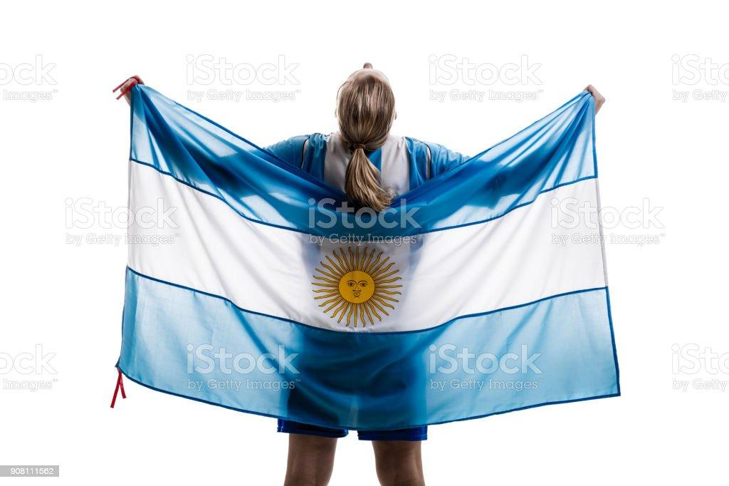 Atleta femenina Argentina / ventilador celebrando sobre fondo blanco - foto de stock