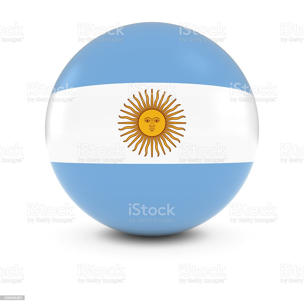 Argentinian Flag Ball - Flag of Argentina on Isolated Sphere stock photo