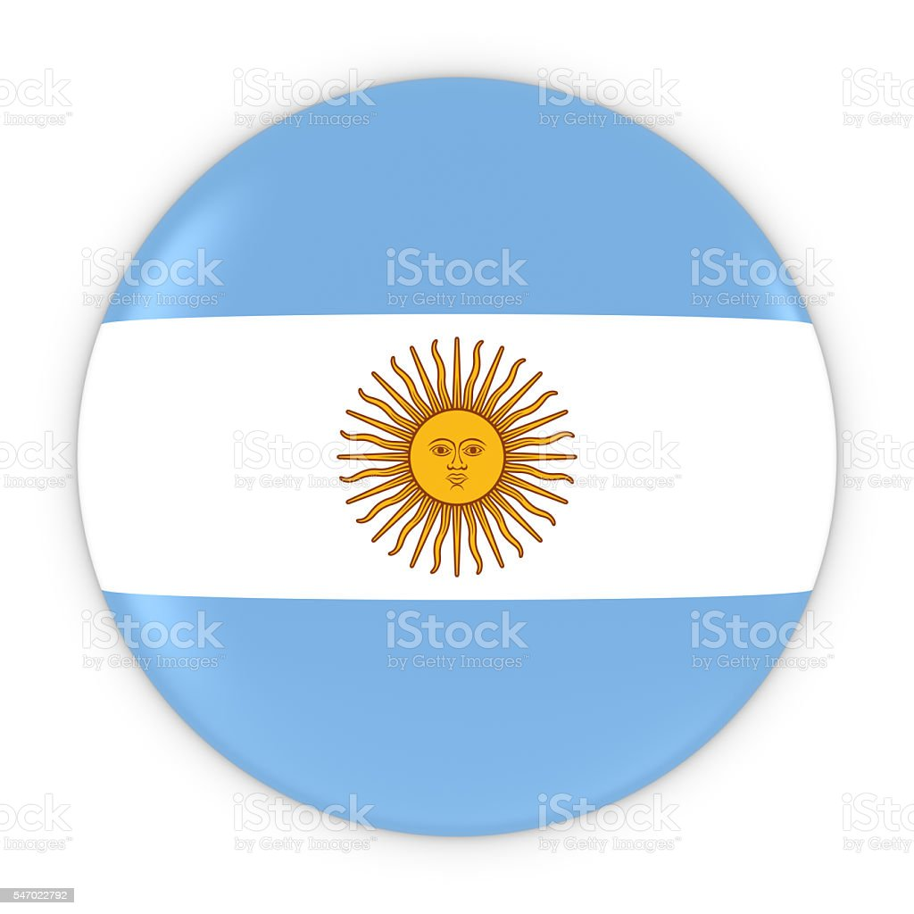 Argentinian Flag Button - Flag of Argentina Badge 3D Illustration - foto de acervo