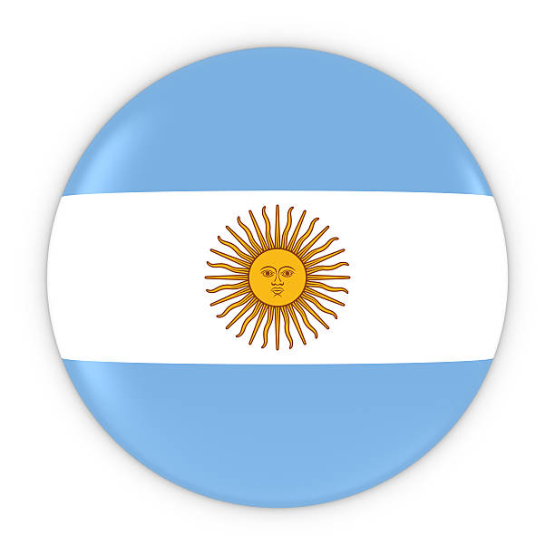 Argentinian Flag Button - Flag of Argentina Badge 3D Illustration stock photo