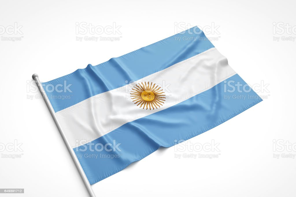 Argentinian Flag is Laying on a White Surface stock photo