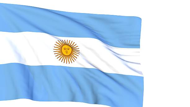 Argentinian flag waving on wind on white stock photo