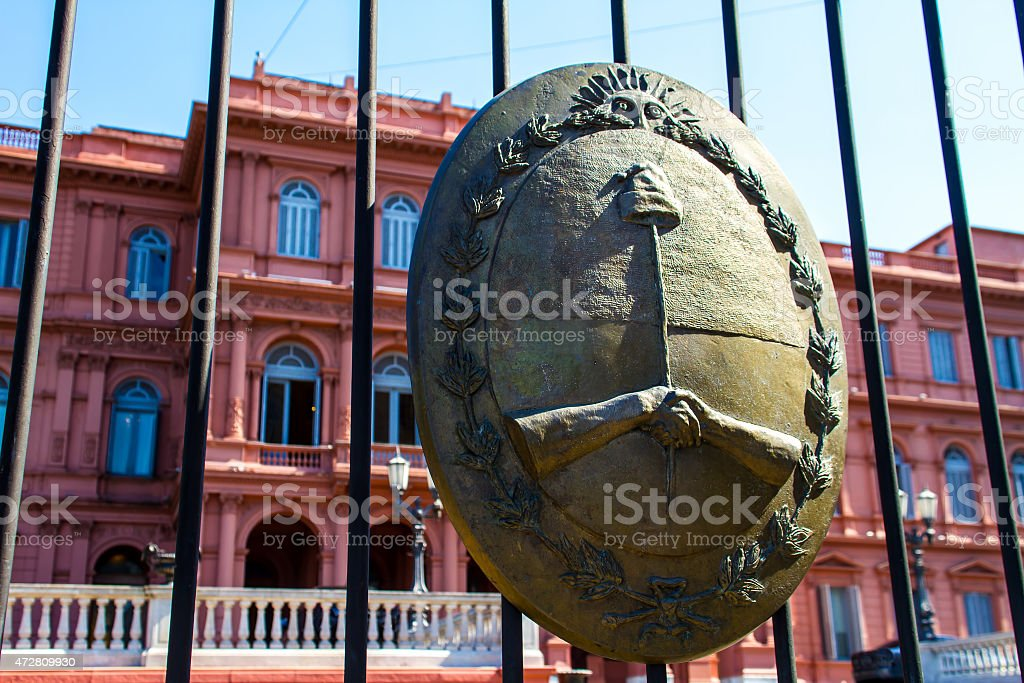 Argentinian Government House with the emblem in the forefront stock photo