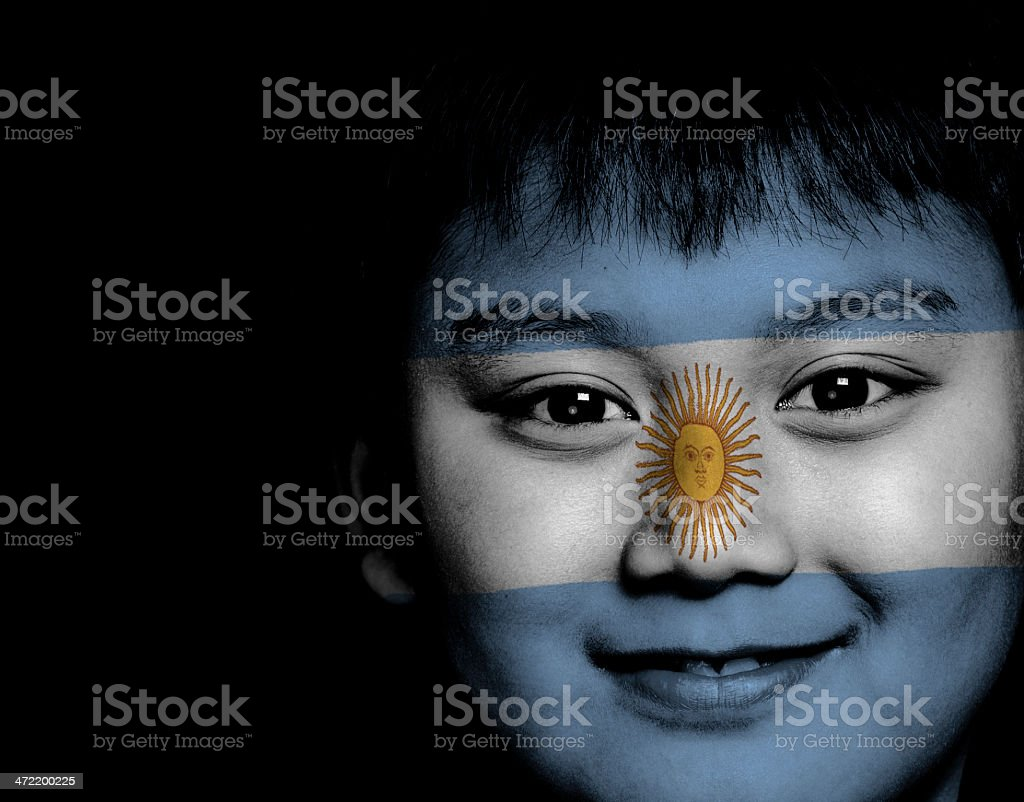 Argentinian kid ready for FIFA World Cup stock photo