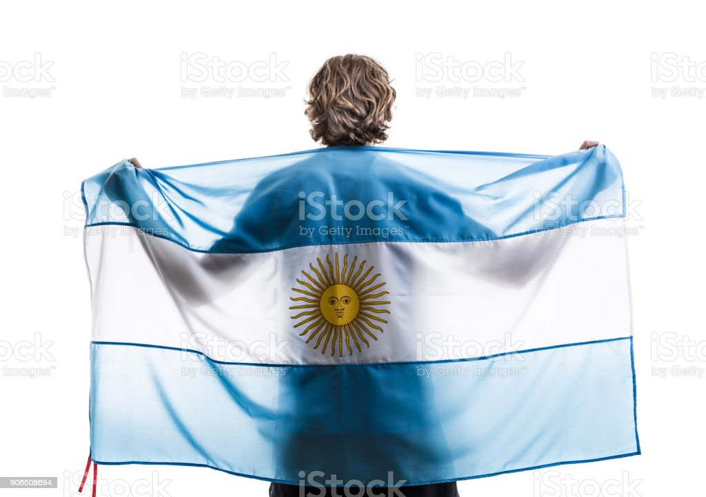 Atleta Masculino argentino / ventilador celebrando sobre fondo blanco - foto de stock