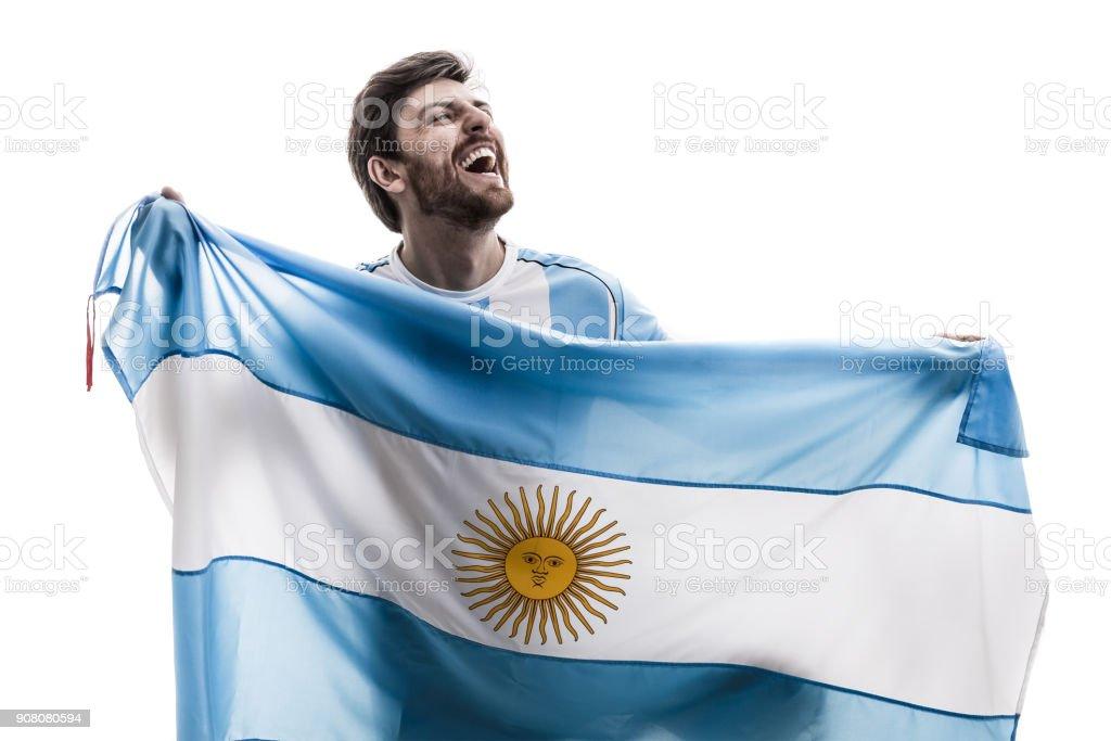 Argentinian male athlete / fan celebrating on white background stock photo