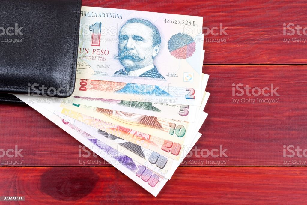 Argentinian money in the wallet stock photo