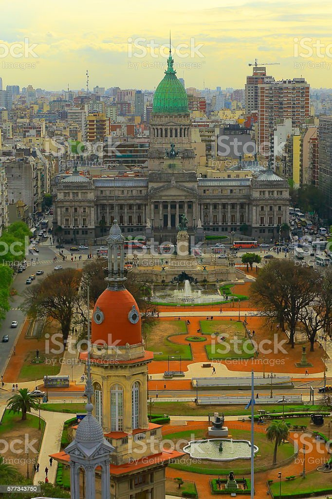 Argentinian Parliament, Cityscape aerial panorama, Buenos Aires stock photo