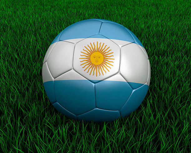 Argentinian soccer ball stock photo