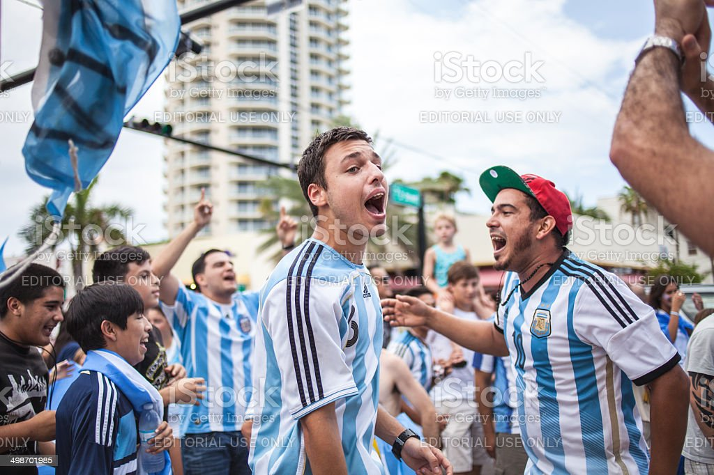Argentinian soccer fans celebrating - Stock Image stock photo
