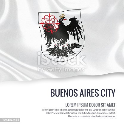 istock Argentinian state Buenos Aires City flag waving on an isolated white background. State name and the text area for your message. 680660544