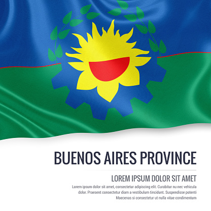 istock Argentinian state Buenos Aires Province flag waving on an isolated white background. State name and the text area for your message. 680660580