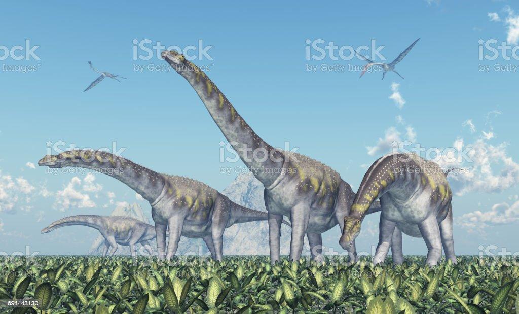 Argentinosaurus y Quetzalcoatlus - foto de stock