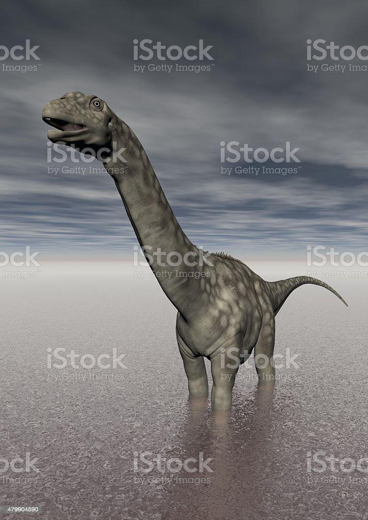 Dinosaurio argentinosaurus en el lago - foto de stock