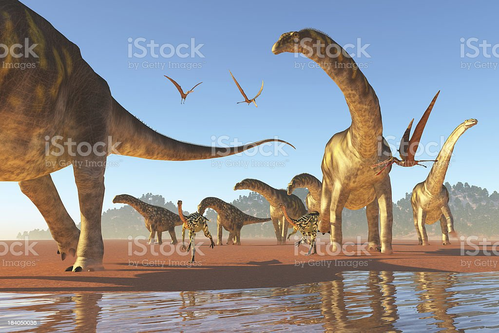 Argentinosaurus Herd royalty-free stock photo