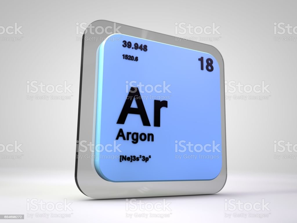 Argon - Ar - chemical element periodic table 3d render stock photo