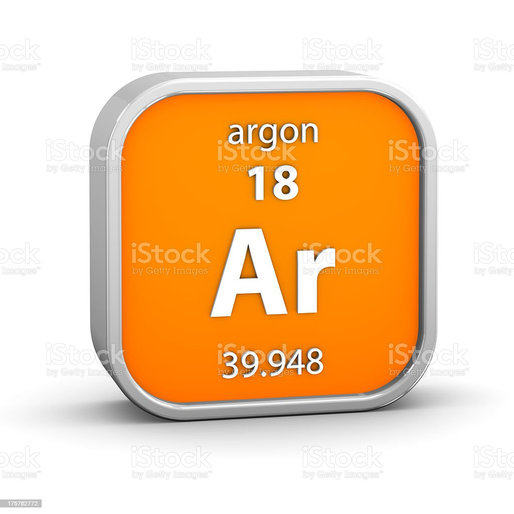 Argon material sign stock photo