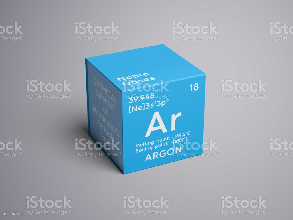 Argon. Noble gases. Chemical Element of Mendeleev's Periodic Table. stock photo