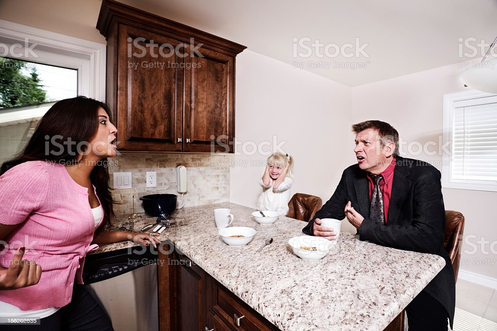 Arguing about money stock photo